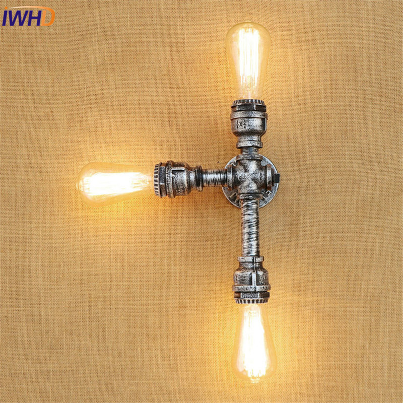 IWHD Retro Loft Style Industrial Vintage Wall Light Fixtures Iron Water Pipe Lamp Edison Wall Sconce Indoor Lighting Lampara iwhd iron water pipe loft led wall lamp rh retro industrial vintage wall light bedside fixtures home lighting indoor luminaire
