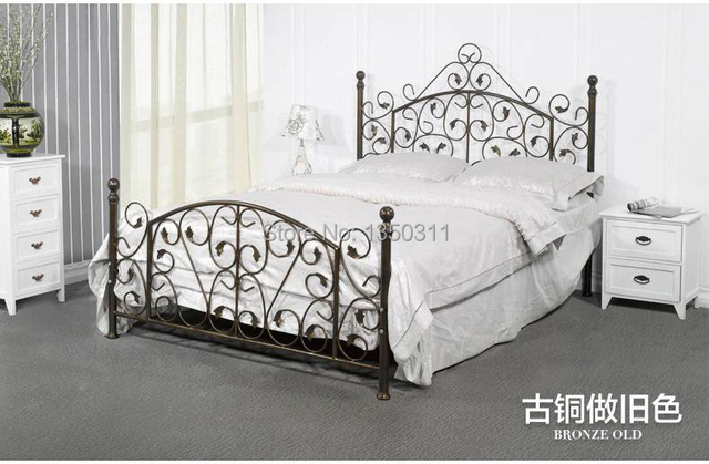 Noble Iron Double Single Bed 1.5 Meters 1.8 European Pastoral Student Bed  Iron Bed Princess Bed