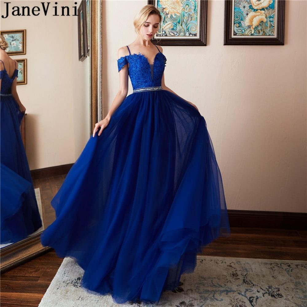 JaneVini Beaded Waist Long Prom Dresses 2019 Royal Blue Lace Gala Dress Elegant Galajurken Lang Tulle Formal Evening Party Dress