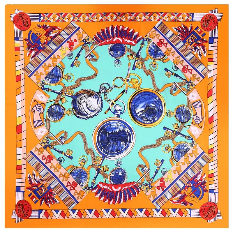 POBING 100% Silk   Scarf   Women Square   Scarves     Wraps   Watch Print Neckerchief Female Foulard Stain Silk Hijab Bufandas 110CM*110CM