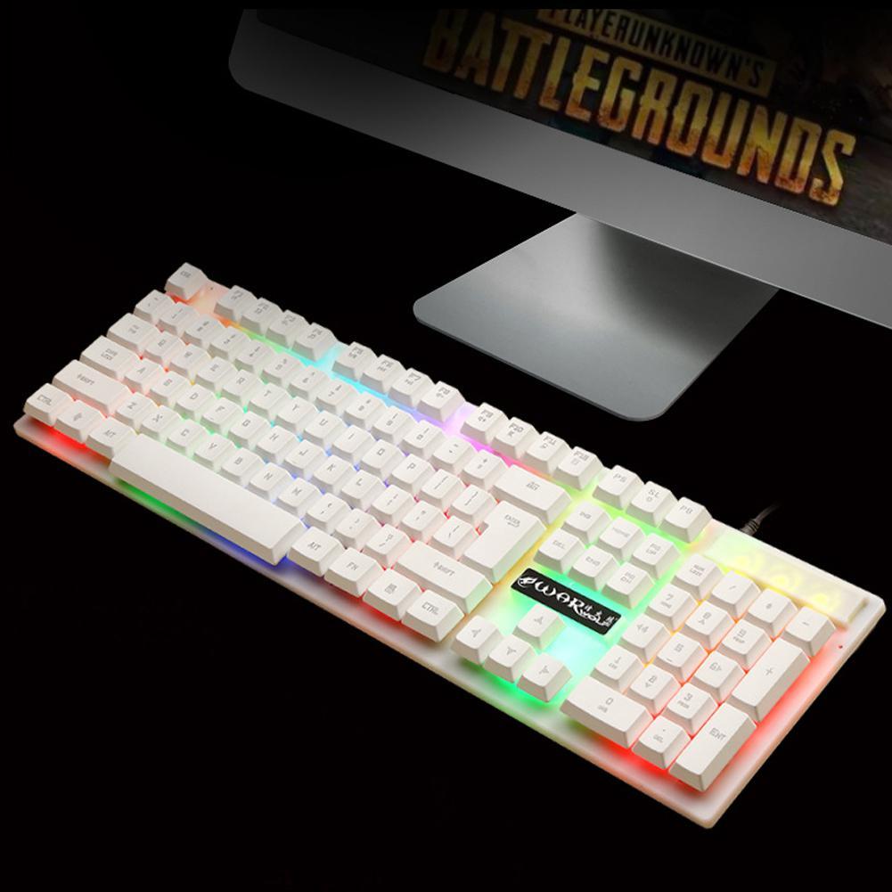 תאורה אחורית DSstyles 104 מפתחות USB עם חיבור לחשמל מקלדת גיימינג Pro עם 7 צבעים LED עם תאורה אחורית Gaming Keyboard עבור מחשב שולחני (2)