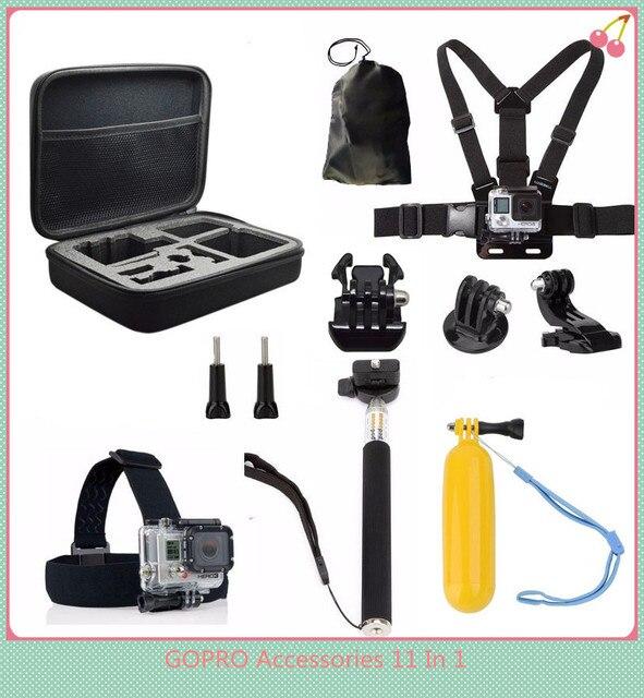 Новый Спорт Действий Камеры Аксессуары Комплекты 11-в-1 для Gopro Hero 5 4 3 + 3 SJ4000 SJCAM SJ5000 M10 M20 XIAOMI YI Действий камера