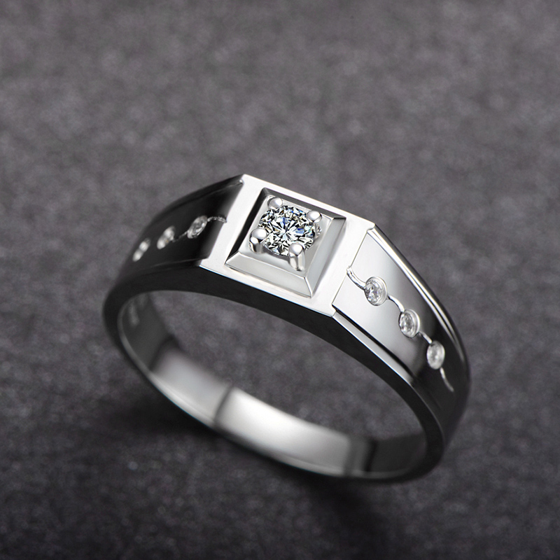 Handmade Diamond Ring for Men 18K White Gold 0.16+0.06ct SI1 H Round Cut Natural Diamond Jewelry  Wedding Rings
