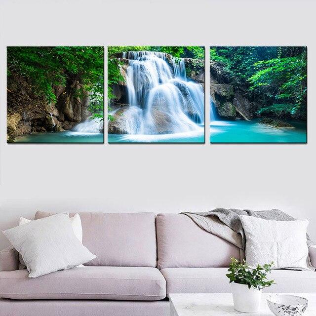 Wunderbar 3 Panel Grünen Wald Wasserfall Leinwand Wand Kunst Druck Malerei Natur  Landschaft Poster 3D Tapete Bild