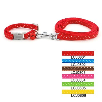 Pet Collar Leash Set For Puppy Cat Small Animal Dot Printed Nylon Collar Leash Lead Set with Bell