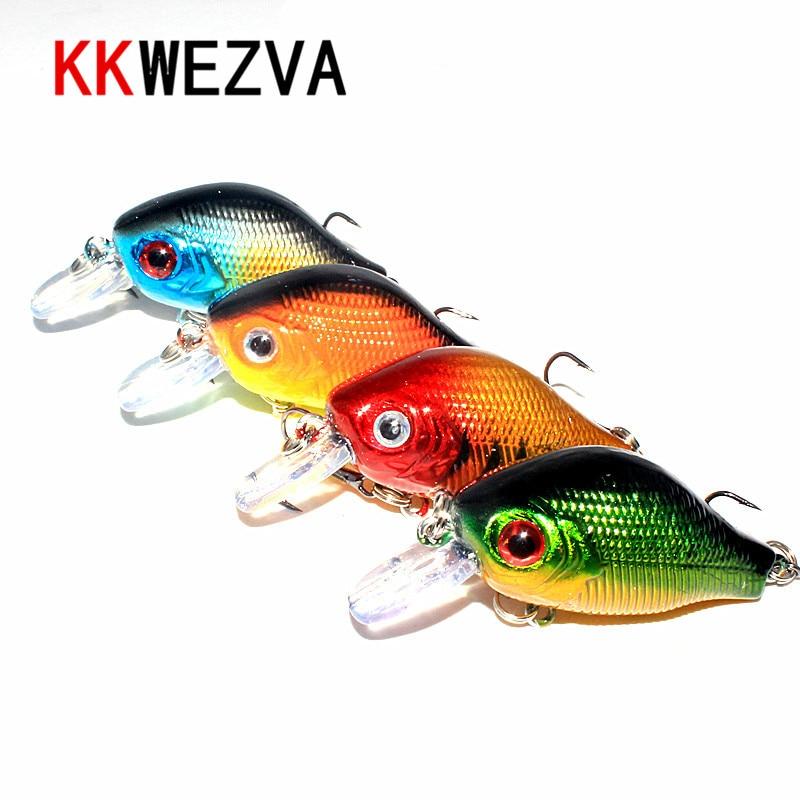 KKWEZVA 4db 5.6cm 8g színek Horgász csalik Crankbait Minnow Hooks - Halászat