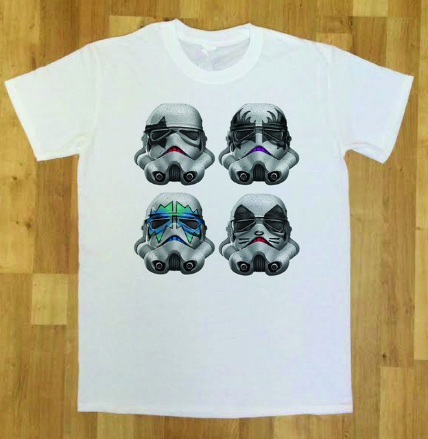 a15bd47c6 Mens T-Shirt With Star Wars Stormtrooper Funny Parody Star Wars Kiss Rock  Band t shirt Summer Cotton Tee White Euro Size S-3XL