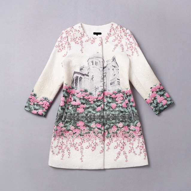 2016 Designer Trench Coat Autumn Winter Women's High Quality Building Printed Floral Jacquard Cotton Trench Coat Outwears Medium women s embroidery bomber jacket 2017 autumn high quality floral printed jacquard black