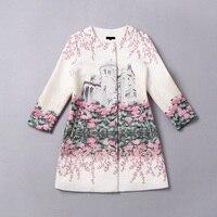 2016 Designer Trenchcoat Herfst Winter vrouwen Hoge Kwaliteit Gebouw Gedrukt Bloemen Jacquard Katoen Trenchcoat Outwears Medium
