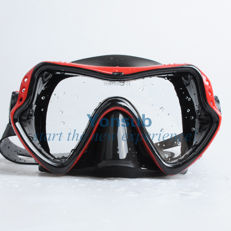 Gratis forsendelse Silikondykermask, tør snorkel til dykkerudstyr Dykningsudstyr / Rød