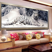 160cm X 48cm White Tigers Snow Scene DIY 5D DIY Rubik S Cube Round Diamond Painting