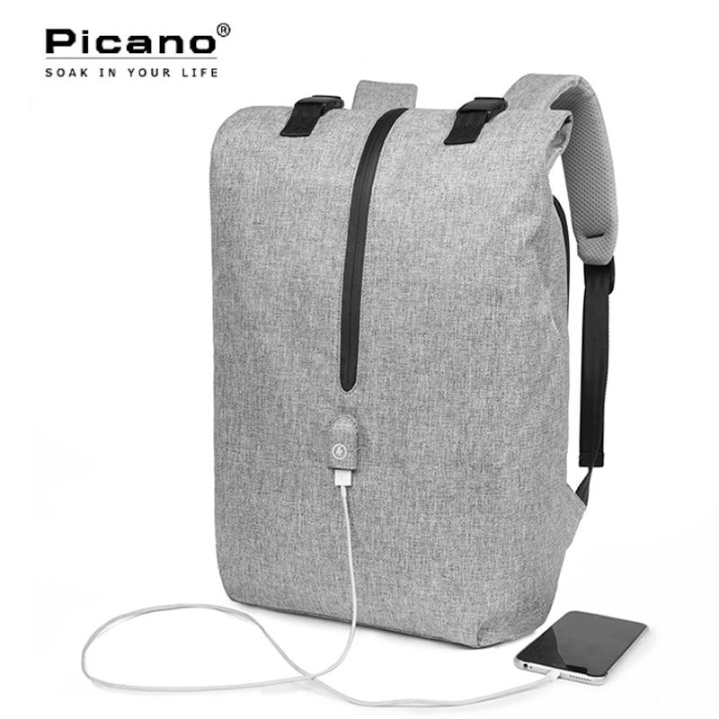 цены Picano Men 15.6 Laptop Backpack Smart USB Charge Anti-theft Backbag College Schoolbag For Teenage Boy Casual Rucksack PCN024