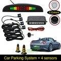 [Imbatível POR US $ X.99] Assistência Sensor De Estacionamento LED Car Reverso Radar Backup System Monitor de Backlight Display + 4 sensores