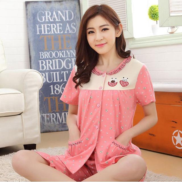 Conjuntos de pijama de verão para as mulheres plus size sleepwear 2017 novo 95% algodão curto tops-manga curta conjunto calças salão xxxxl