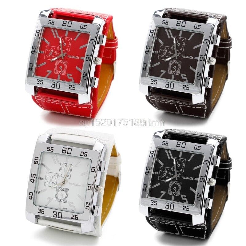 New Fashion Men Women Leather Band Square Dial Quartz Watches Wrist Watch
