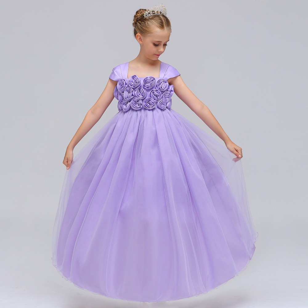 7649f5254 Fancy Kids Girl Wedding Flower Girls Dress Princess Party Pageant Formal  Dress Prom Bridesmaids Baby Girl Birthday belle Dress -in Dresses from  Mother ...