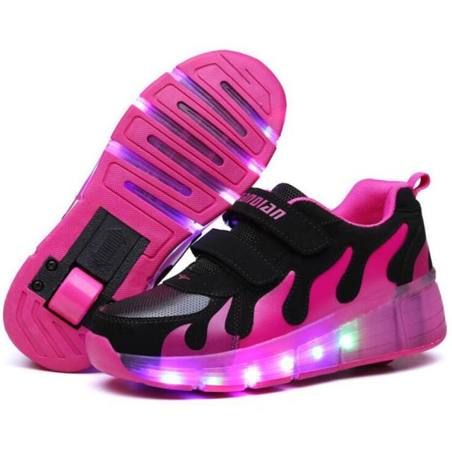 Fashion wheels LED Luminous sneakers for Child Junior jazzy boys girls Roller Skate shoes casual Brand kids glowing sport shoes