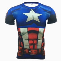 3D Printed T Shirts Men Compression Shirts Short Sleeve Cosplay Costume Crossfit Fitness Clothing Tops Male