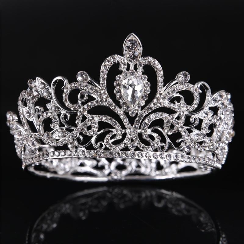 Silver/Gold Crystal Rhinestone Women Princess Tiaras Crown Headband Bridal Headpiece Women Wedding Hair Jewelry Accessories LB