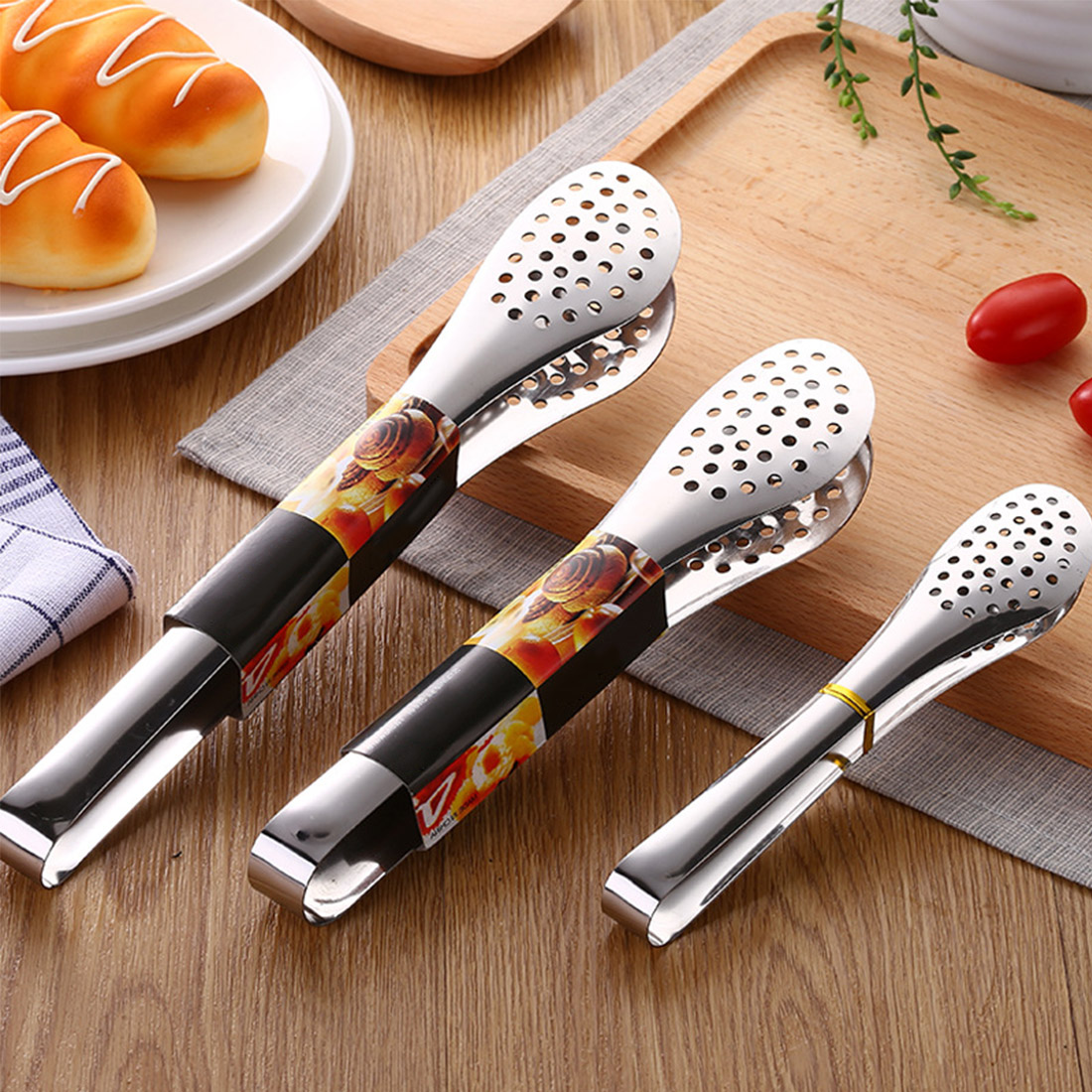 Stainless Steel Kitchen Cooking Tong BBQ Food Salad Clamp Clip Serving Utensil