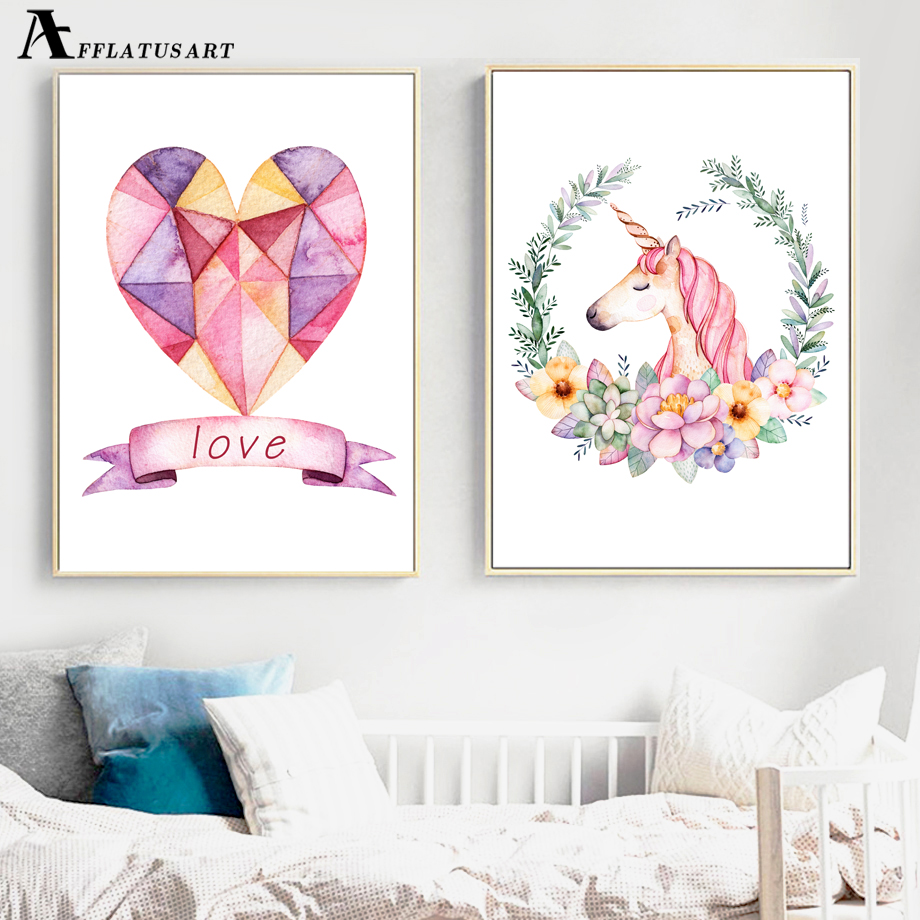 AFFLATUS Unicorn Love Nordic Poster Wall Art Canvas Painting Watercolor Posters And Prints Wall Picture For Kids Room Home Decor  wall art unicorn | DIY Unicorn & Skull | EASY Pastel Goth Tumblr Wall Art | AFFLATUS font b Unicorn b font Love Nordic Poster font b Wall b font font b
