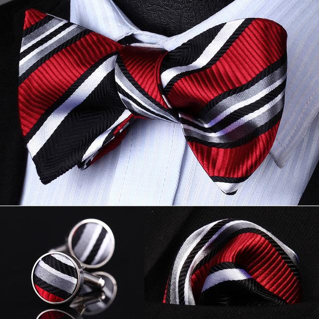 Bolso Quadrado Partido Clássico Casamento BZS06L Vermelho Preto Cinza Listrado De Seda Homens Auto Gravata Gravata lenço Abotoaduras set