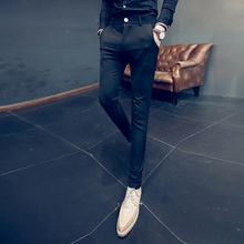2018 Summer New Slim Cone Gentleman Stripe Feet Nine Business Casual Pants Personality Fashion Classic Influx Urban Hair Stylist
