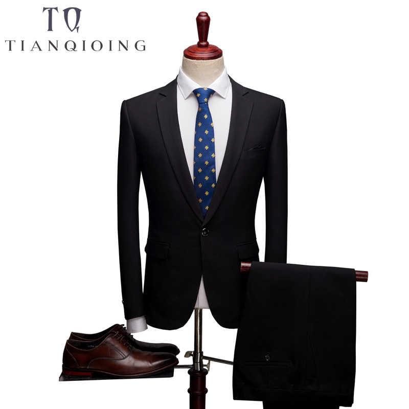 ブレザー + パンツ 2 ピーススリムフィットのスーツの男性ノッチラペルビジネス結婚式新郎レジャータキシード 2018 最新コートパンツデザイン S-6XL