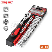 Hi-Spec 15pc 1/4 Socket Set Wrench CR-V 4-14mm 72 Teeth Ratchet Socket Wrench Set High Torque Repair Tool Set Hand Tool Kit цена