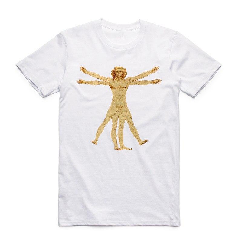 Hombres de la moda de verano Imprimir Da Vinci Rock Camiseta blanca - Ropa de hombre