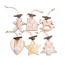 6PCS European Hollow Snowflakes Wooden Pendants Christmas Tree Decoration for Party Kids Gift