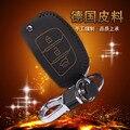 Leather Keychain Case For Hyundai Ix 35 Smart Folding Model Car Key 3 Button Leather Keyring Holder 4 Stitch Color Car Key Case