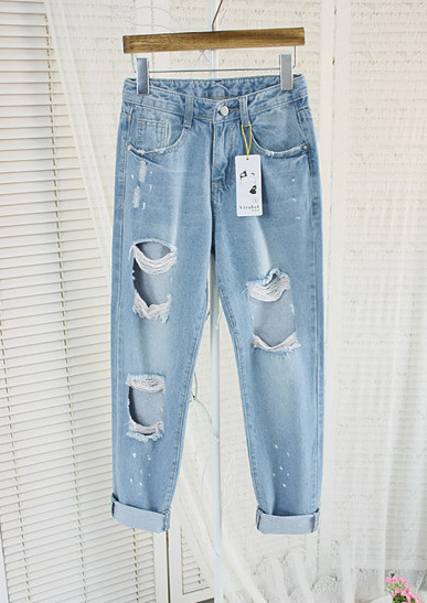 b32cf2f150d New Fashion American apparel blue baggy boyfriend jeans for women with holes  baggy ripped jeans femme plus size 6XL pants