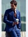 (Куртка + Жилет + Брюки) Последние Конструкции Пальто Брюки Смокинги Мужской Королевский Синий Мужской Костюм Жениха Свадьба Костюмы для Мужчин Terno Masculino