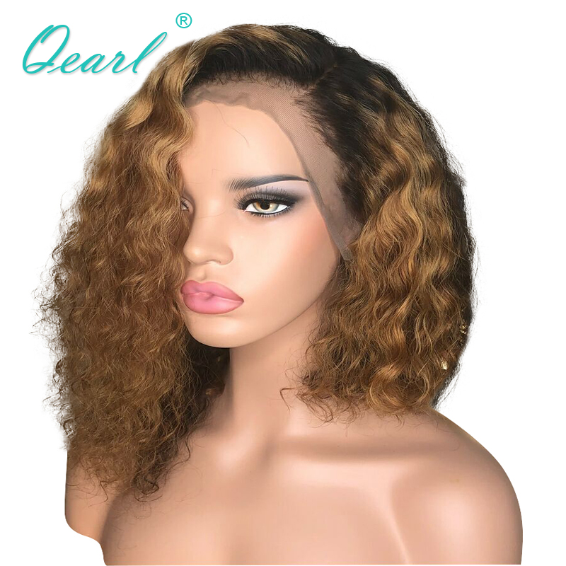 Half Lace Human Hair Wig 13x6 Lace Front Wig Deep Side Parting Ombre Color Curly Remy