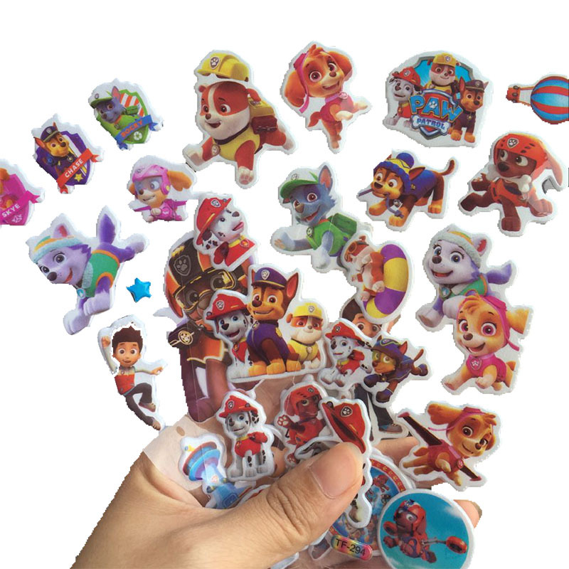 10pcs/set PAW Patrol Toy Stickers 3D Children's Cartoon Bubble Paste Thicken The Reward StickersFor Kindergarten Babies Gifts