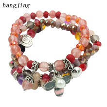 hangjing 3pcs/set 2019 woman new crystal bead stretch natural stone bracelet bee bangle jewelry trendy unique beaded bracelets