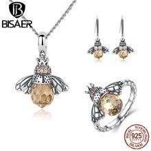 BISAER 925 Sterling Silber Nette Orange Bee Tier Anhänger Halsketten und Ohrringe & Ring Mode Schmuck Sets WES043