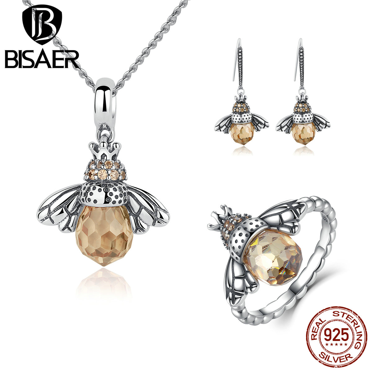 BISAER 925 Sterling Silver Cute Orange Bee Animal Pendants Necklaces & Stud Earrings & Ring Fashion Jewelry Sets WES043BISAER 925 Sterling Silver Cute Orange Bee Animal Pendants Necklaces & Stud Earrings & Ring Fashion Jewelry Sets WES043