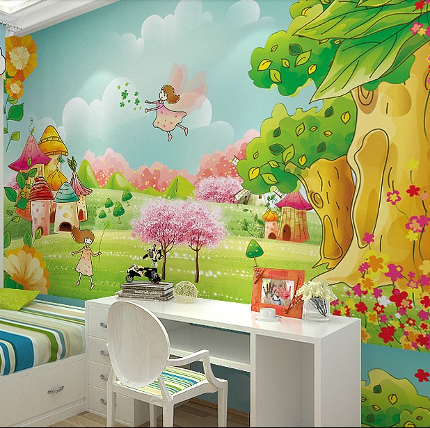 Hot Large Murals 3d Modern Wallpaper Girly Kids Room Cartoon Fairy Tale World Waterproof Fabric