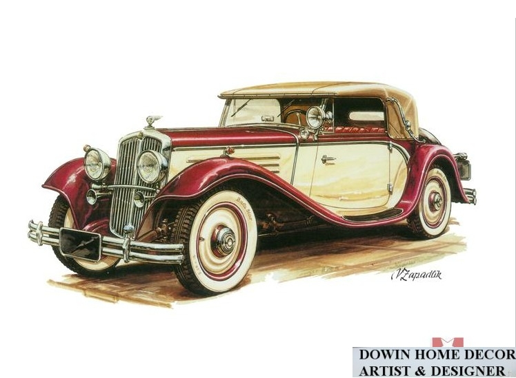 Wholesale modern old famous vintage car painting wall art living room hotel showroom decorative - Dessin vieille voiture ...