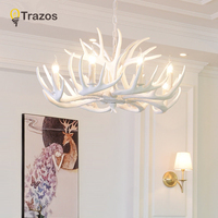 Antlers Resin Chandelier Lamp Modern White Antler Chandelier Lustre Chandeliers E14 Vintage Pendant loft Lights Novelty Lighting