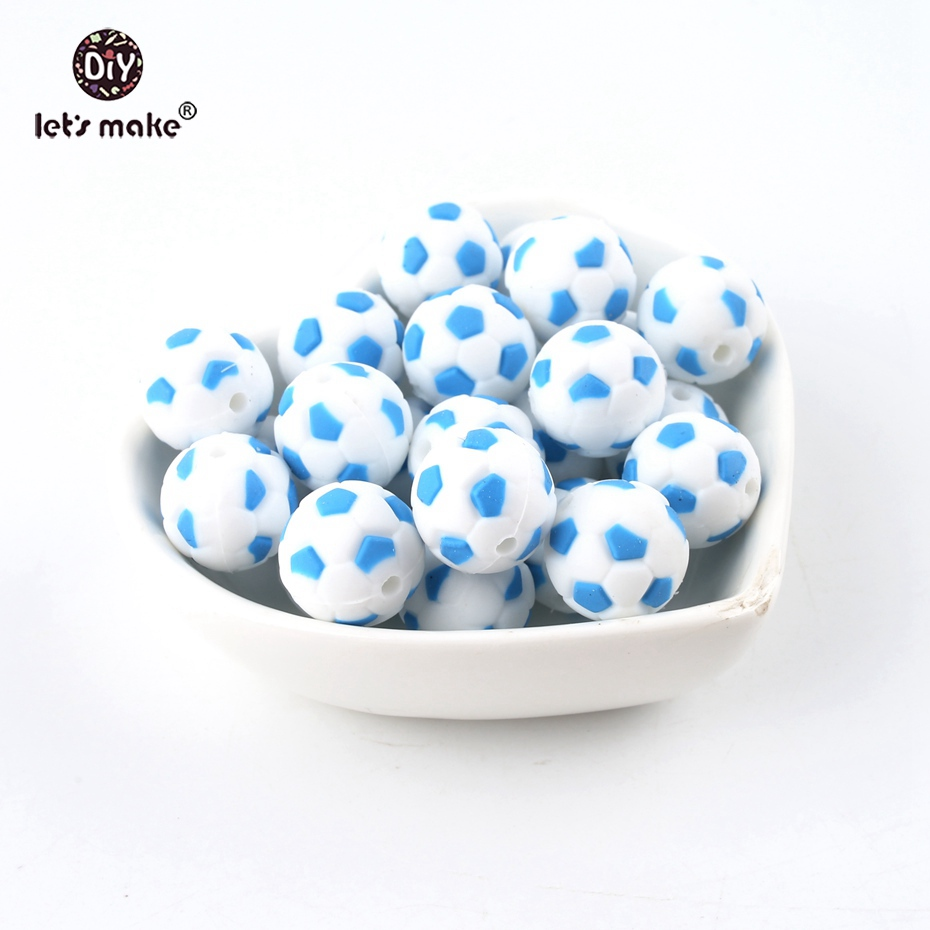 Let's Make Silicone Football 50PC BPA Free Silicone Teether Silicone Chewing Beads Nursing Accessories Nursing Necklace Pendant