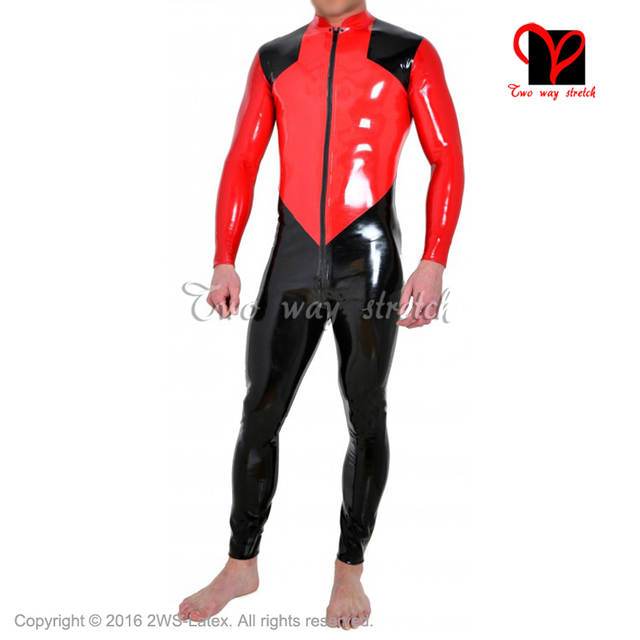 bd7931be7f BLack and Red Shoulder trims Sexy Latex Catsuit front to crotch Zipper  Rubber bodysuit Jumpsuit overall