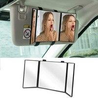 자동차 메이크업 거울 태양 바이저 화장 거울 자동 트리플 접는 자동차 인테리어 메이크업 거울 양산 거울 장식