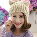 New Fashion Women Warm Woolen Winter Hats Cat Ear Knitting Hat Casual Caps XY4185