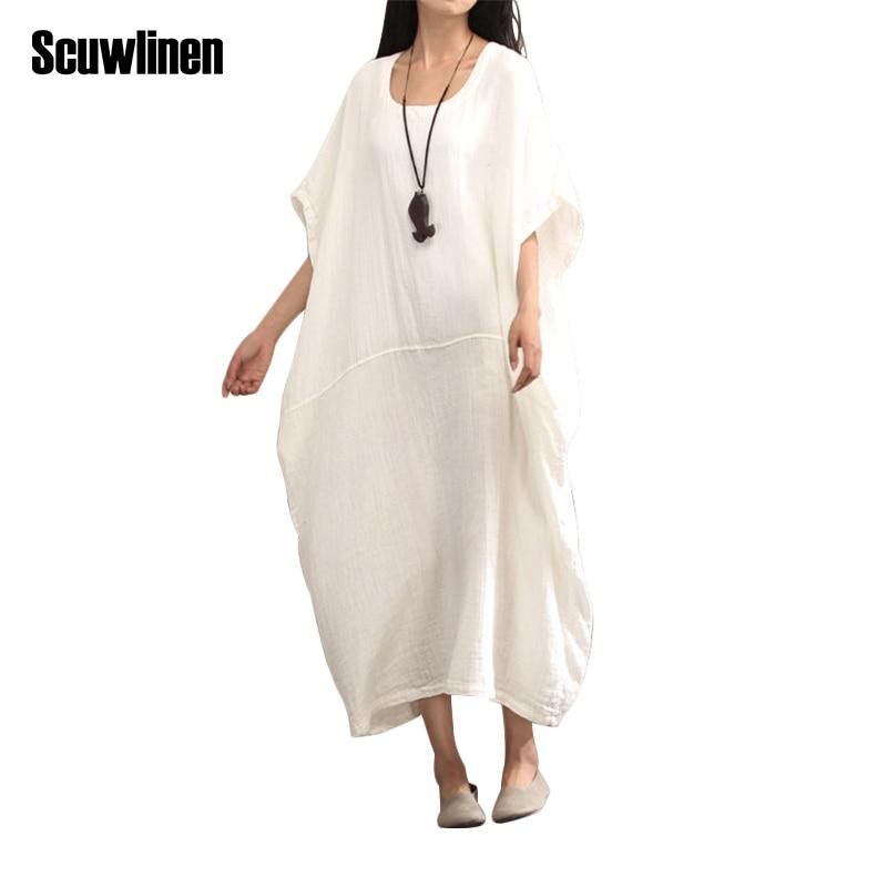 SCUWLINEN 2019 Musim Semi Musim Panas Gaun Vintage Panjang Plus - Pakaian Wanita - Foto 1