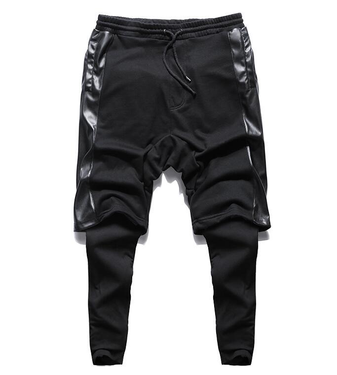 Harem-Pants Hip-Hop-Trousers Drop-Crotch Black Nightclub Cotton New-Fashion Male Men