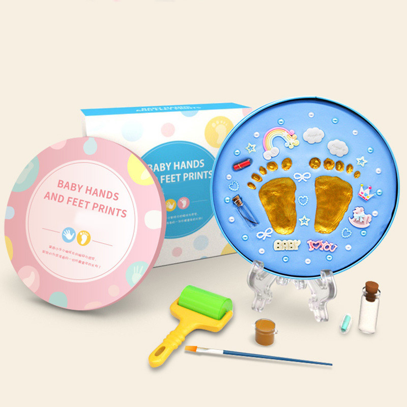 Baby Handprint Footprint Kit Newborn Baby Photo Album Personalized Footprint Decorations Box AN88