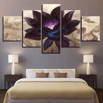 Moderne Leinwand Hd Gedrucktes Plakat Rahmen Bebroom Decor 5 Stucke Schwarz Lotus Gemalde Modulare Wandbilder Abstrakt Blume Bilder